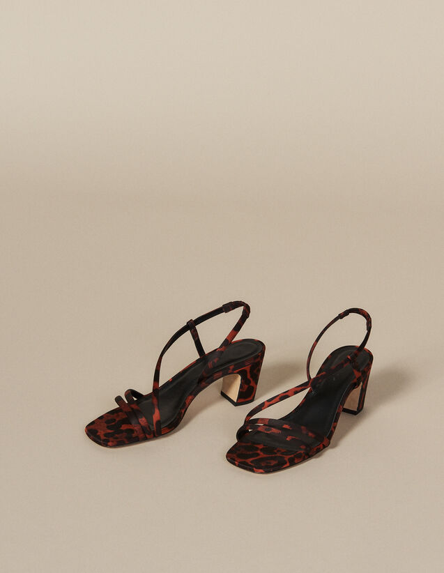 Leopard print fabric sandal : Shoes color Orange leopard