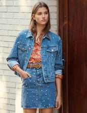 Denim Jacket Trimmed With Studs : Jackets color Blue Jean