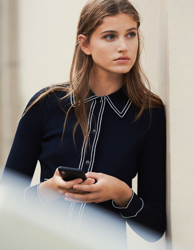 Cropped Shirt-Effect Cardigan : Sweaters color Navy Blue