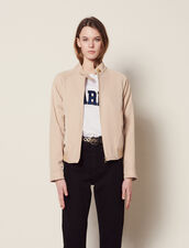 Cropped Plain Flowing Jacket : Coats & Jackets color Sand