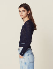 Cropped Pointelle Knit Cardigan : Sweaters color Navy Blue