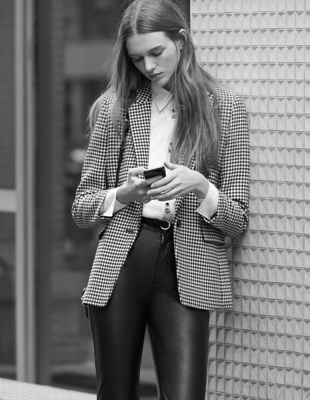 Houndstooth check tailored jacket : Jackets color Black