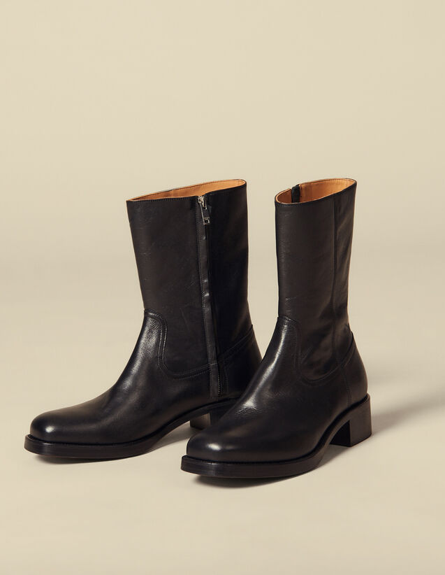 Leather boots : Shoes color Black