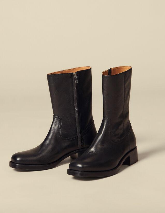 Leather Boots : Shoes color Black