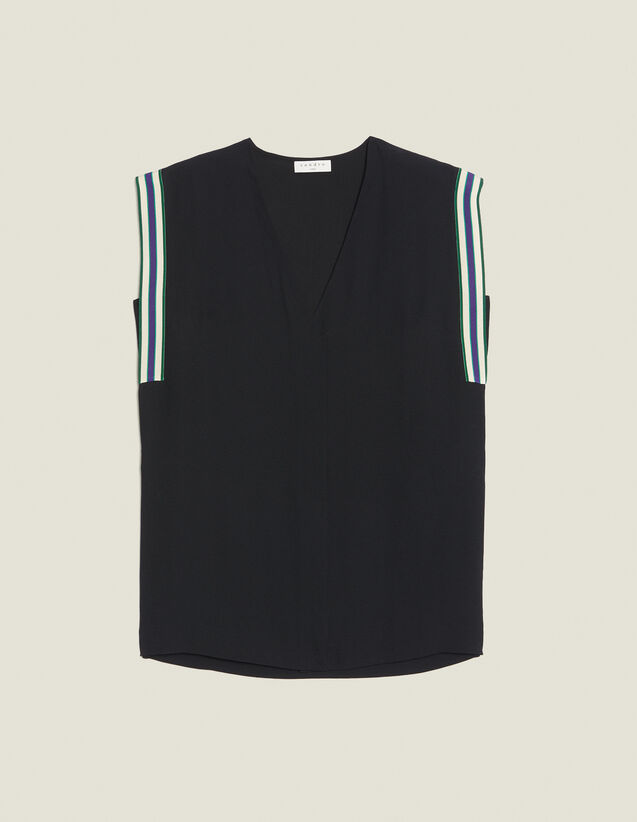 Sleeveless Top With Tie Belt : Tops & Shirts color Black