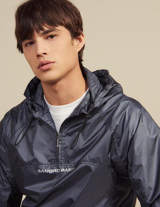 Hooded Windbreaker : Coats & Jackets color Grey