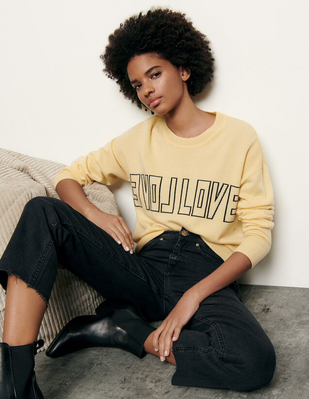 Wool and cashmere sweater with message : Spring Pre-Collection color Yellow