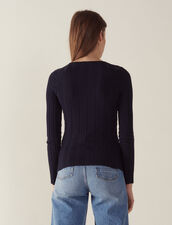 Long-Sleeved Cotton Sweater : Sweaters color Navy Blue
