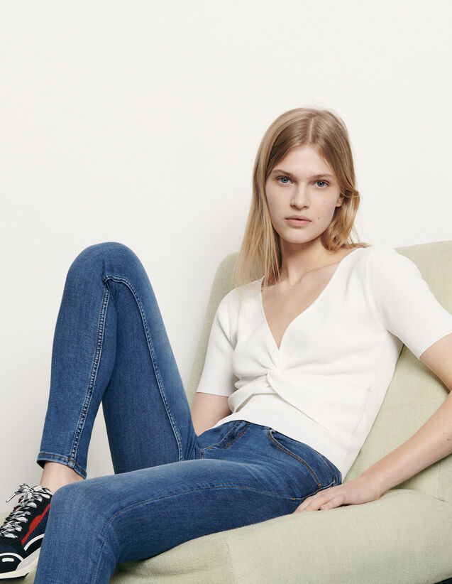 Ribbed knit cropped top : Spring Pre-Collection color white