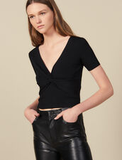 Ribbed Knit Cropped Top : Sweaters color Black