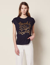 Cotton T-Shirt With Lettering : Tops & Shirts color Navy Blue