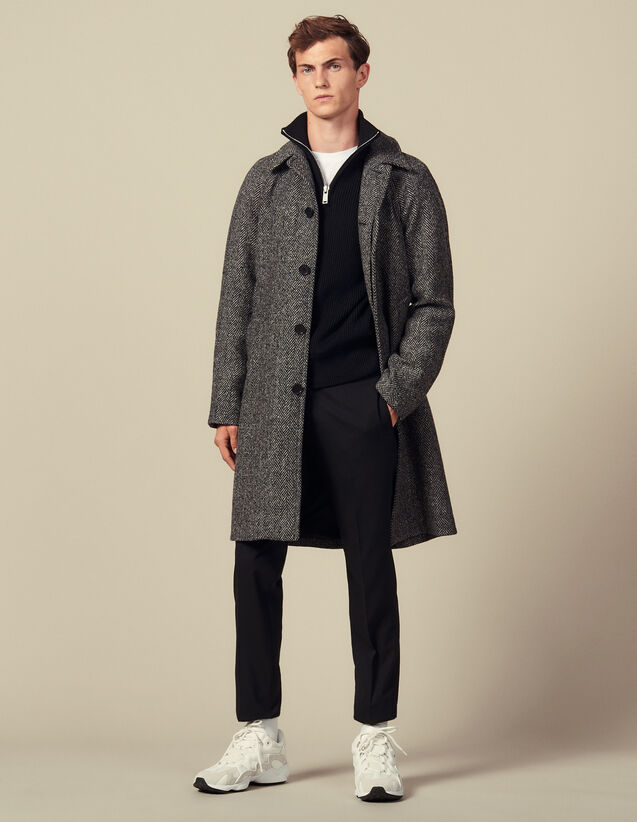 Coat With Belt : Coats color Noir/Gris