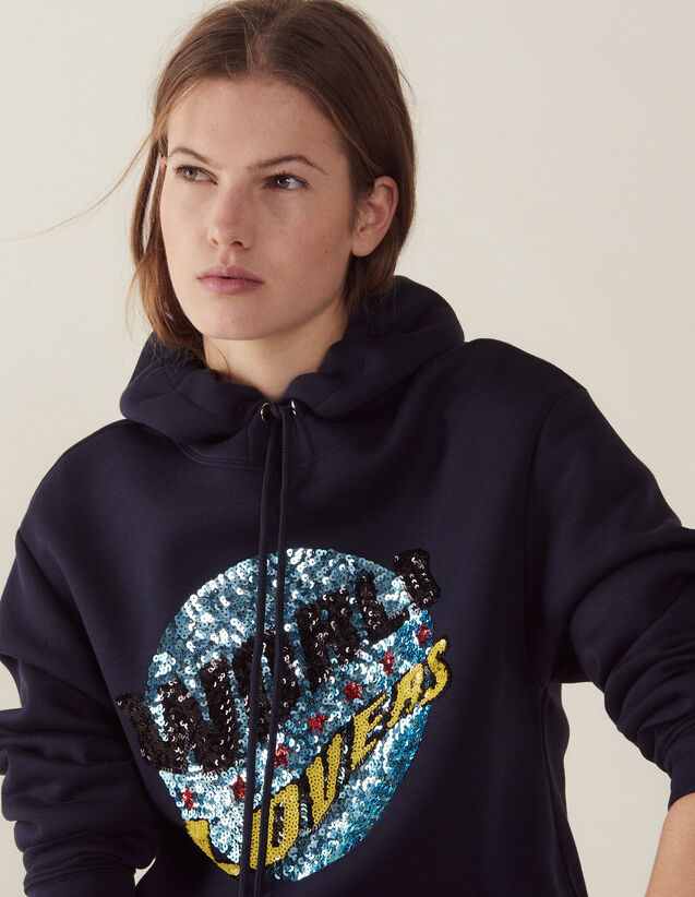 Hoodie Sweatshirt With Sequins : Sweaters color Navy Blue