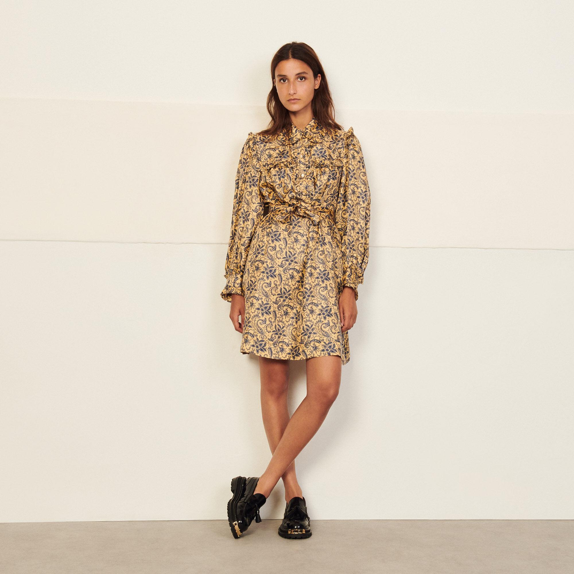 Sandro Short printed silk dress
