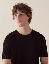 Short-Sleeved Merino Wool Sweater : Sweaters color Black