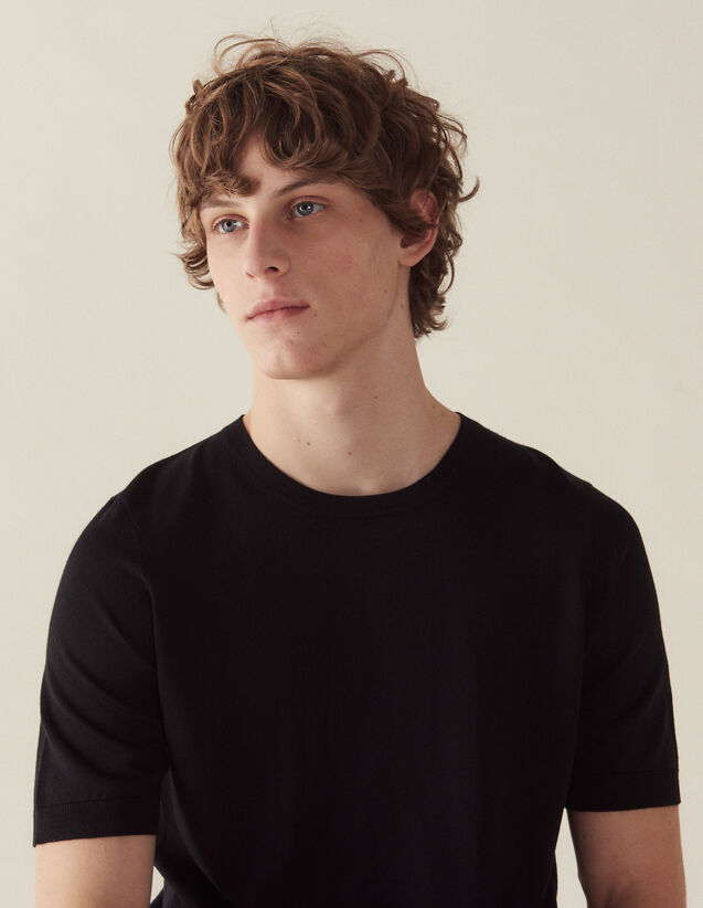 Short-Sleeved Merino Wool Sweater : Sweaters color Black