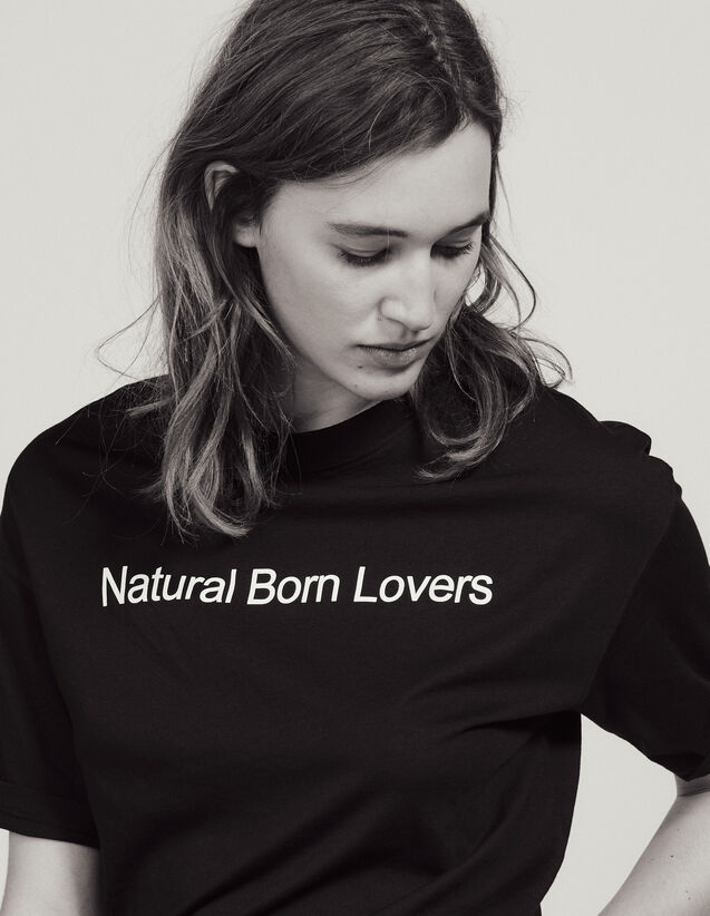 Oversized T-Shirt With Slogan : Tops & Shirts color Black