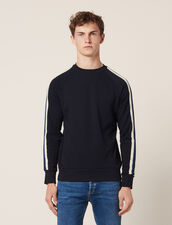 Sweatshirt with three-colored trim : Sweaters color Navy Blue