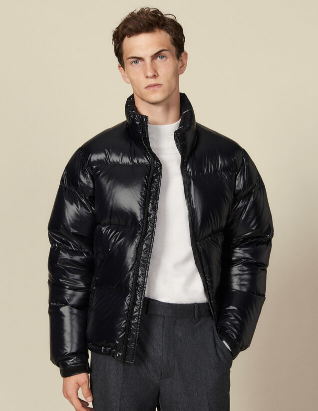 Shiny oversized padded jacket : Coats color Black