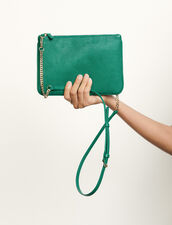 Lizard embossed leather pouch : Spring Pre-Collection color Green