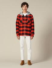 Check overshirt with hood : Jackets color Orange