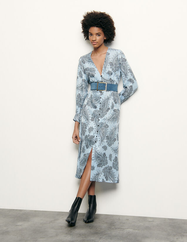Printed silk blend midi dress : Spring Pre-Collection color Blue