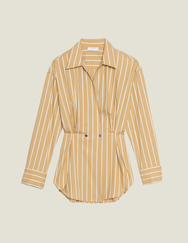 Long-Sleeved Striped Shirt : Tops & Shirts color Beige