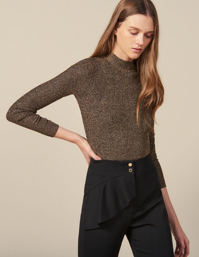 Lurex Ribbed Knit Sweater : Sweaters color Gold