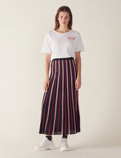 Long Knit Skirt With Pleats : Skirts color Navy Blue