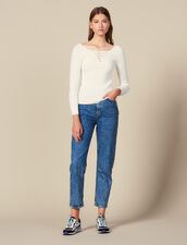 Sweater With Lace-Up Neckline : Sweaters color white