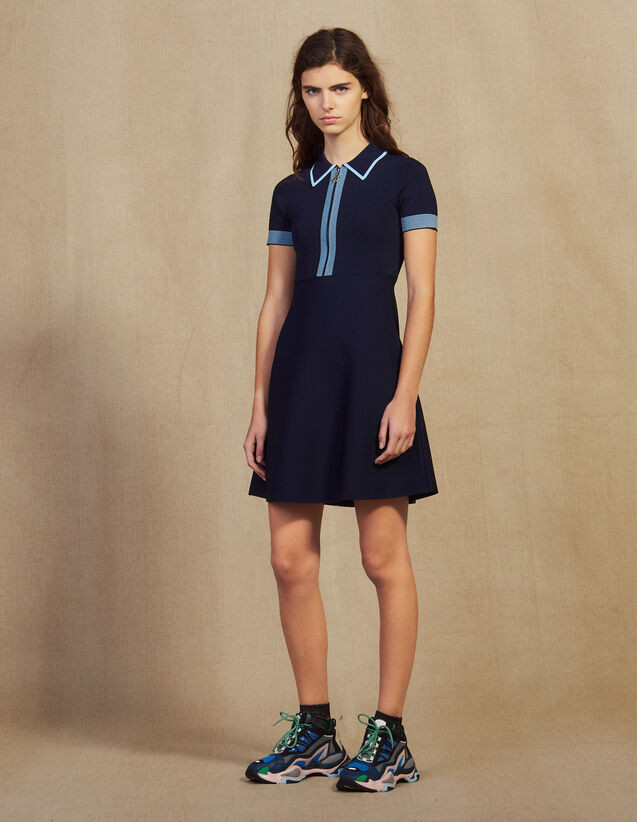 Knit Polo Dress : Dresses color Navy Blue