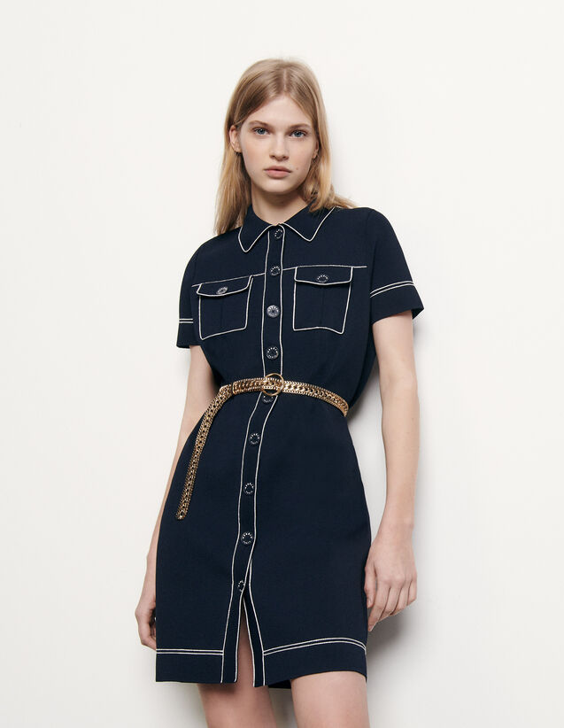 Knit dress with contrasting topstitching : Spring Pre-Collection color Navy Blue