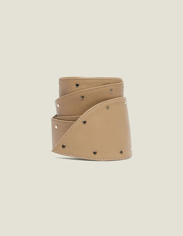 Wide Tie Belt With Studs : Other Accessories color Beige