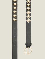 Belt with studs and acetate gemstones : Belts color Black