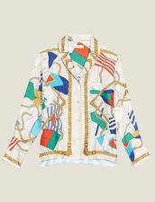 Printed Pyjama-Style Shirt : Tops & Shirts color Ecru