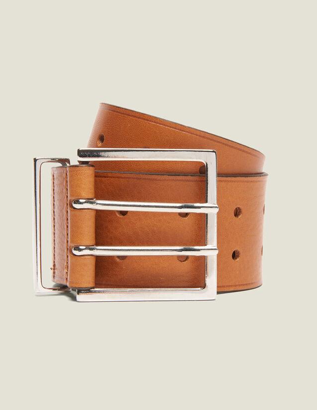 Wide Leather Belt : Other Accessories color Curcuma