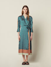 Patchwork Printed Long Dress : Dresses color Green
