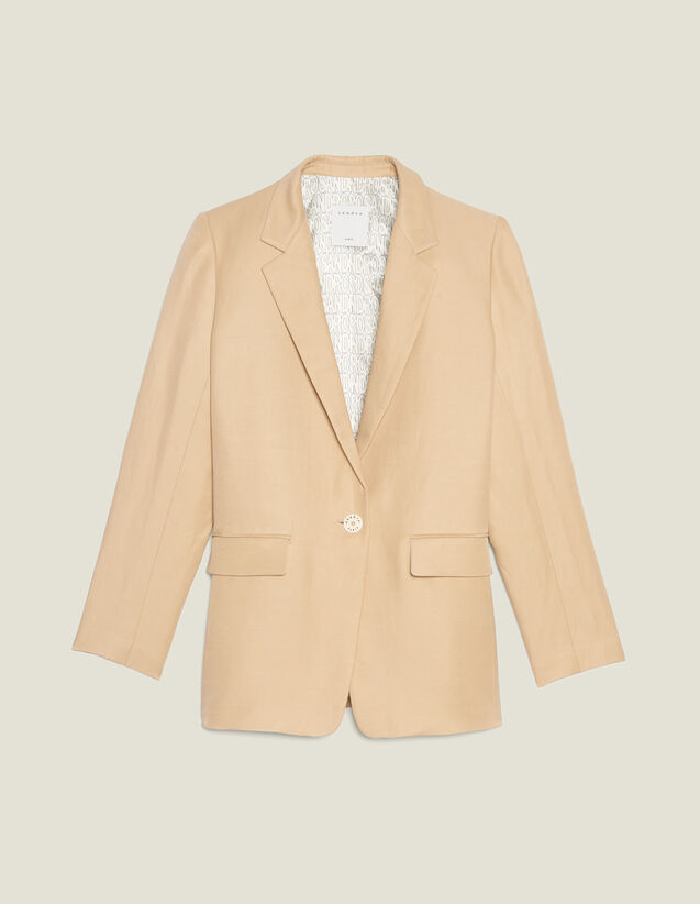 Tailored Jacket With Button Fastening : Coats & Jackets color Beige