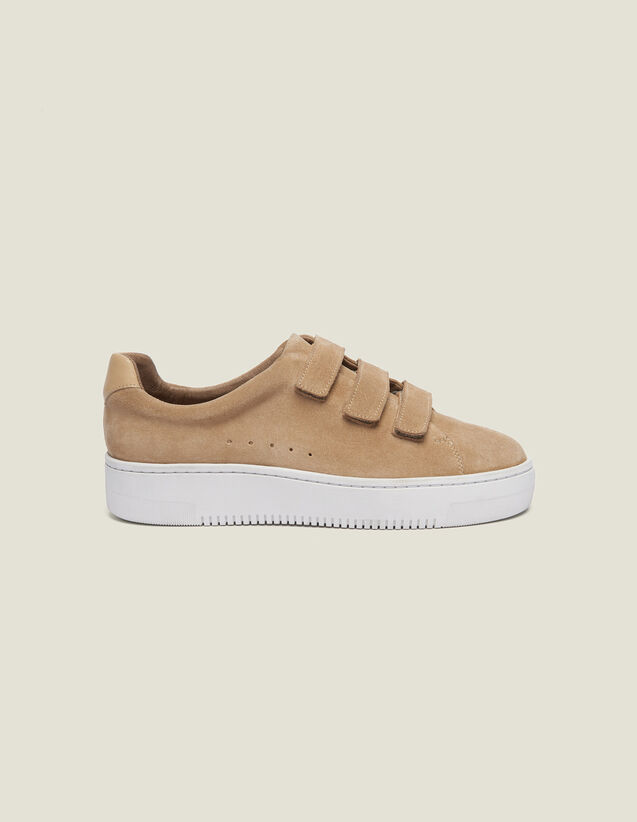 Leather Velcro Sneakers : Shoes color Sand