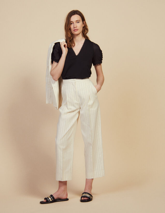 Wide-Leg Tailored Pants : Pants & Shorts color white