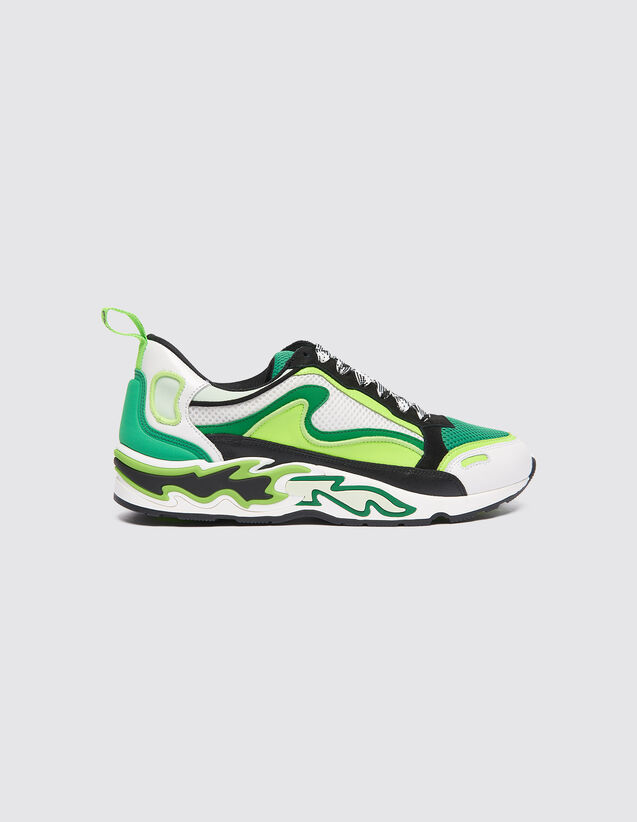 Flame Trainers : Shoes color Vert fluo