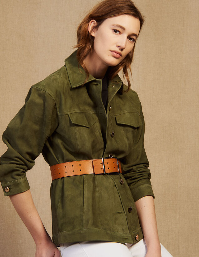 Leather Overshirt-Style Jacket : Jackets color Olive Green