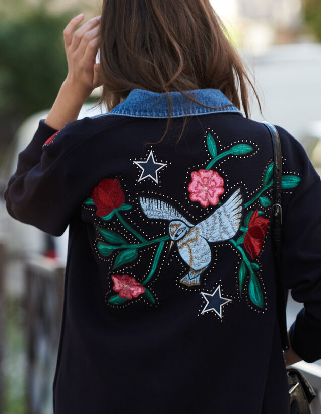Embroidered cardigan with denim collar : Sweaters & Cardigans color Navy Blue