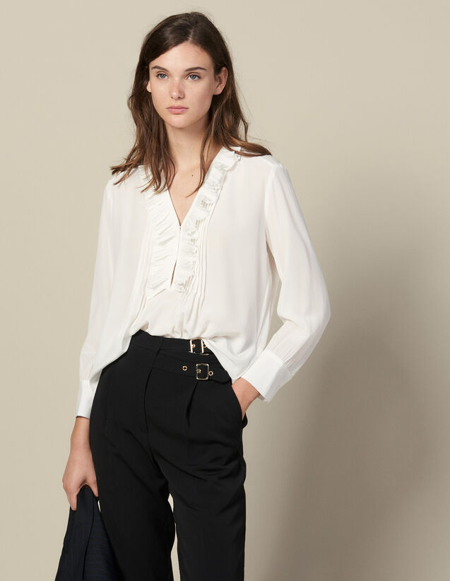 Silk top with pleat edged neckline : Spring Pre-Collection color Ecru