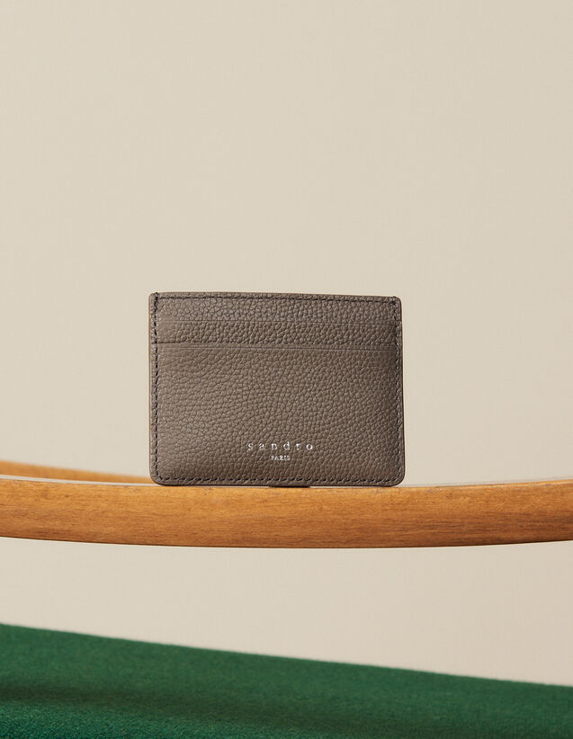 Grained Leather Card Holder : Leather Goods color Taupe