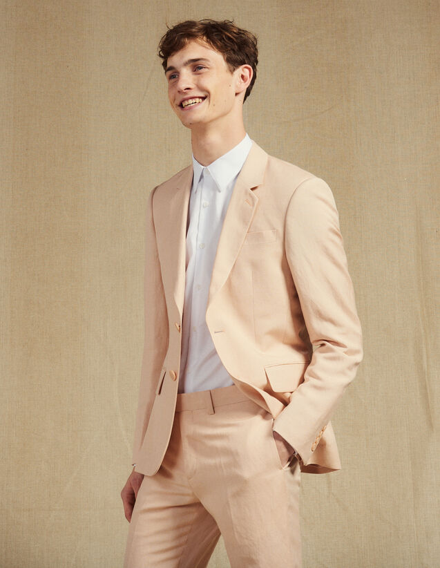 Linen Blend Suit Jacket : Suits & Blazers color Light pink