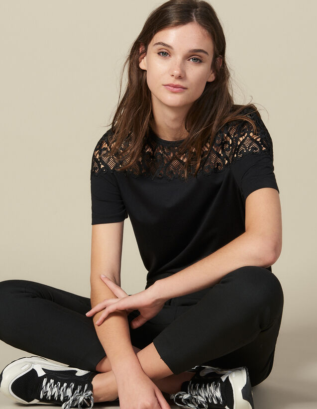 T-Shirt With Guipure Lace Insert : Tops & Shirts color Black