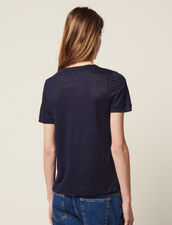 Short-Sleeved Linen T-Shirt : Tops & Shirts color Navy Blue