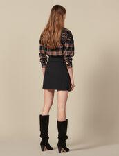 Short Skirt With Asymmetric Ruffle : Skirts color Black