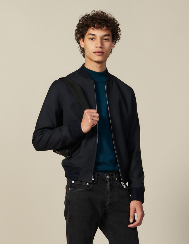 Zipped bomber jacket : Jackets color Navy Blue